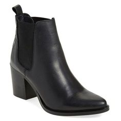 Women's Steve Madden 'Pistol' Bootie (115 CAD) ❤ liked on Polyvore featuring shoes, boots, ankle booties, black leather, steve madden boots, leather boots, ankle boots, chunky black booties and short black boots