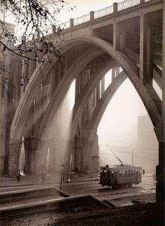 Viaducto de la Calle Bailén. Madrid. Spain. Photographed by Francesc Catalá-Roca. '50s.