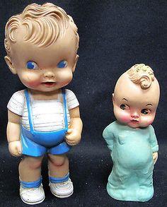 Vintage Ruth E. Newton Sun Rubber Boy Doll 47 and Earlier Hard Plastic Baby Doll