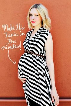 24 Awesome Maternity Outfits You Can Make Yourself: Create an easy tunic with some simple but artful draping.