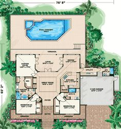Olde Florida Style - 66055WE   Florida, Southern, 1st Floor Master Suite, Butler Walk-in Pantry, CAD Available, PDF   Architectural Designs