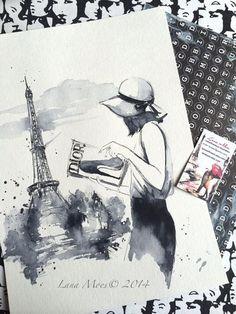 Parisian Girl Watercolor  Print Parisian Cityscape  Fashion/afflink