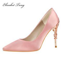 2017 Fashion Sexy Pumps Metal Thin heel Satin Pointed Toe Wedding Shoes  Party Prom Elegant Women s dd05aec6b6d0
