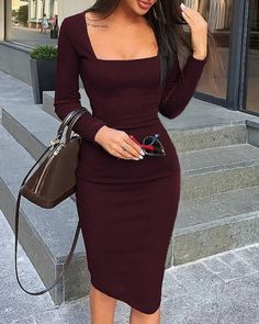 Style:Fashion Pattern Type:Solid Polyester Neckline:Square Neck Sleeve Style:Long Sleeve Length:Midi Occasion:Workwear Package Note: There might be difference acco. Casual Summer Dresses, Modest Dresses, Simple Dresses, Cute Dresses, Short Dresses, Dresses For Work, Dress Casual, Burgundy Casual Dress, Knee Length Dresses