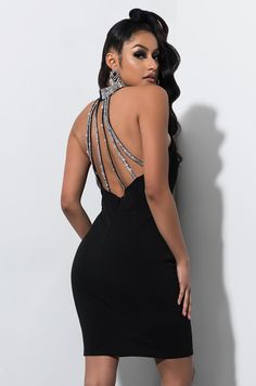 5399d724 AKIRA Label Halter Top Strappy Back Rhinestone Embelished Mini Dress in  Black
