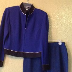 St. John 2 PC jacket and skirt Blue jacket with black band with gold bars St. John Other