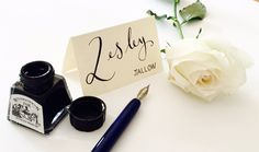 Wedding Calligraphy Name Cards, Place Cards, Escort Cards (including first name and surname) by emmahcalligraphy on Etsy