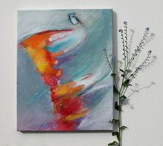 "Abstract Painting Small Canvas ""Wind Guide"""