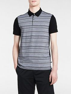 Image for slim fit striped jacquard polo shirt from Calvin Klein