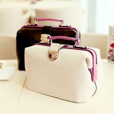 (FL005415) E-shop Fashion Bags Big Retro Extreme Contrast Mixed Colors Cross-body Doctors Handbag