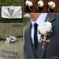 Cotton boll boutonnières. Just a flash of Mississippi.