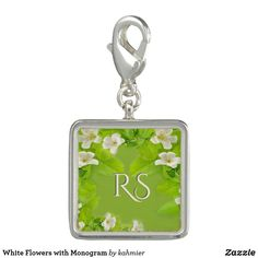 White Flowers with Monogram Charm
