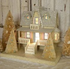 Be Inspired: A Cottage Style Christmas Glitzerhaus Christmas Village Houses, Cottage Christmas, Putz Houses, Miniature Christmas, Christmas Villages, Noel Christmas, All Things Christmas, Christmas Crafts, Christmas Decorations