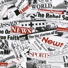 Muriva Fleet Street Newspaper Wallpaper Black / White / Red