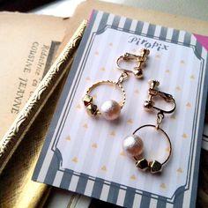 ♥Pearl & gold Metal beads フープ イヤリング