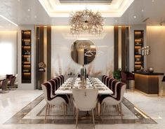Living room and dining design in Kuwait City (part on Behance Elegant Dining Room, Luxury Dining Room, Dining Room Design, Simple Living Room, Luxury Interior Design, Luxurious Bedrooms, Room Decor, Decoration, Master Bedroom