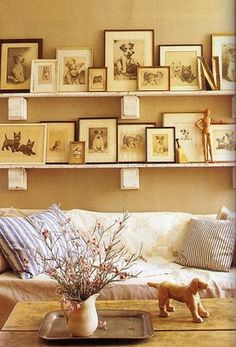 reclaimed brackets, reclaimed wood shelves and vintage dog photos -- I happen to have all these things on hand! :-) Yay