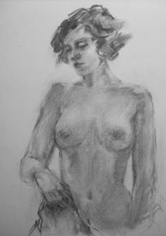 Drawing of a Nude - original charcoal drawing of a nude model -- Connie Chadwell