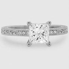 Platinum Delicate Antique Scroll Diamond Ring // Set with 1.7 Carat, Princess, Super Ideal Cut, E Color, IF Clarity Diamond #BrilliantEarth