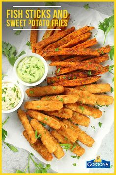 Fish Sticks and Sweet Potato Fries with Avocado Ranch Sauce: Dip and dunk your fish sticks in these delicious sauces. This is the perfect meal for after school and will keep the kids full and satisfied. If you are looking for a quick, easy, and delicious recipe, this one is for you! Check it out here and make your own tonight: https://tasteandsee.com/fish-sticks-and-sweet-potato-fries/