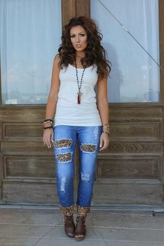 Distressed Boyfriend Cut Jeans with Leopard Print
