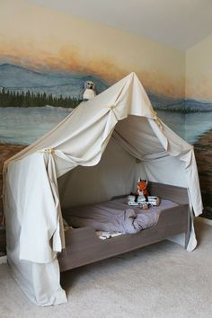 Camping Tent Bed in a Kid's Woodland Bedroom Camping Bedroom, Tent Camping Beds, Indoor Camping, Budget Bedroom, Kids Bedroom, Bedroom Ideas, Bedroom Bed, Bed Ideas, Woodland Bedroom