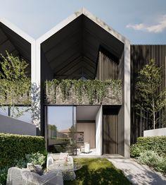 Duplex House Design, Townhouse Designs, Loft Design, Modern House Design, Modern Townhouse, Facade Design, Exterior Design, Townhouse Exterior, Luxury Modern Homes