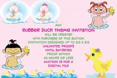 Custom baby shower invitation. Any design with rubber ducks with be created.