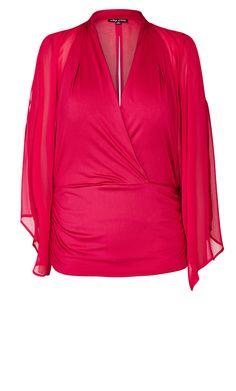 City Chic - SHEER WRAP SLEEVE TOP - Women's Plus Size Fashion