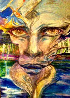 """Frozen"" by Dominika Daszewska  -  acrylic, oil pastels and pencils on canvas;  size: 50x70 cm"