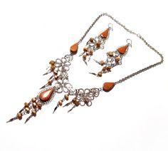 Peruvian Jewelry, Silver Wire Necklace / Pierced Earrings