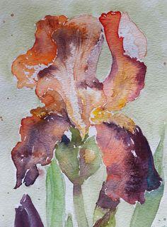 Original Watercolor Iris Painting by Rpaintpalette on Etsy #watercolorarts