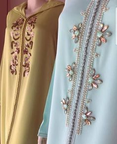 Kurti Embroidery Design, Embroidery Fashion, Embroidery Dress, Abaya Fashion, Boho Fashion, Fashion Dresses, Kaftan Designs, Blouse Designs, Mode Abaya