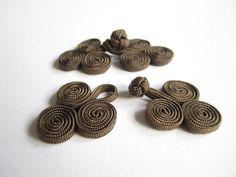 Chinesisch knot Knopfschnellverschlüsse  2 Paar braune