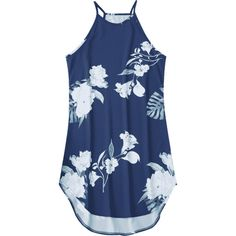 Floral Printed Cami Dress (930 INR) ❤ liked on Polyvore featuring dresses, blue pattern dress, floral print cami, floral camisole, floral print dress and floral cami