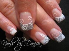 Swirl nails French tips white silver glitter white swirls  nails DIY NAIL ART DESIGNS bridalnail