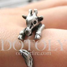 Miniature Baby Giraffe Ring in Silver Sizes 4 to 9.5 available | dotoly - Jewelry on ArtFire