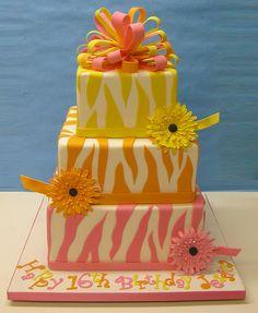 Colorful Zebra cake for girl baby shower