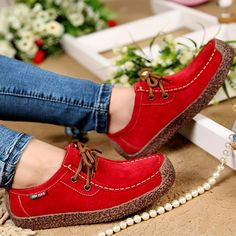 Women Casual Shoes Wild Lace-up Flats Warm Comfortable Concise Shoes Breathable Shoes Suede Loafers, Loafer Shoes, Women's Shoes, Fall Shoes, Lace Up Flats, Loafers For Women, Shoes Women, Ladies Shoes, Ladies Footwear
