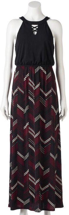 Trixxi Juniors' Chevron Cross Front Maxi Dress