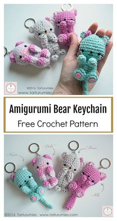 Crochet Bear Amigurumi Bear Keychain Free Crochet Pattern - This Amigurumi Bear Keychain Free Crochet Pattern is cute and practical. It will be a good decoration for a rucksack, mobile phone or keys. Crochet Keychain Pattern, Crochet Patterns Amigurumi, Crochet Dolls, Cat Amigurumi, Crochet Bear, Crochet Gifts, Cute Crochet, Easy Crochet Projects, Crochet Tutorials