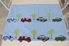 "POTTERY BARN KIDS Set 2 Valance 17 X 44"" CARS TRUCKS DOGS TREES PLAID APPLIQUED #PotteryBarnKids"