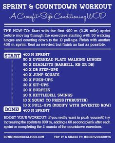 Sprint and Countdown Workout - A #CrossFit Style Conditioning WOD #fintess #workouts | Running on Real Food