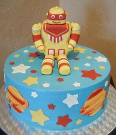 robot with stars and planets