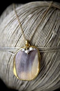 Yenden Gold Shell and Pearl Necklace