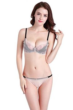 00bebfa954 Chanie Womens Sexy Full Lace Sheer See Through Underwire Bra and Panty Set  -- Check