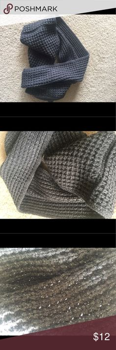 Ann Taylor LOFT Gray Knitted Infinity Scarf Dark gray with silver details woven throughout. Large and warm, great for winter! Pretty knit pattern. No tags, only bc I cut them off when I got it. Worn once, no signs of wear at all. Brand new condition. LOFT Accessories Scarves & Wraps