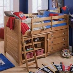 Kids Bedroom Set with Twin Low Loft Bed in Oak Finish Loft Bed For Boys Room, Kids Bedroom Sets, Kids Bedroom Furniture, Boy Room, Kids Room, Bedroom Ideas, Dream Furniture, Small Bedrooms, Kids Beds With Storage