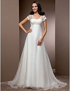A-line V-neck Court Train Organza And Lace Wedding Dress – GBP £ 102.11