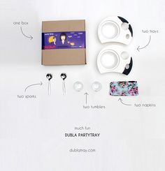 Dubla Party Set comes with one box, two trays, two sporks, two tumblers and two napkins. And much fun.